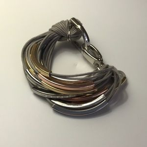 Jewelry - Corded Bracelet with Gold, Silver & Copper Accents